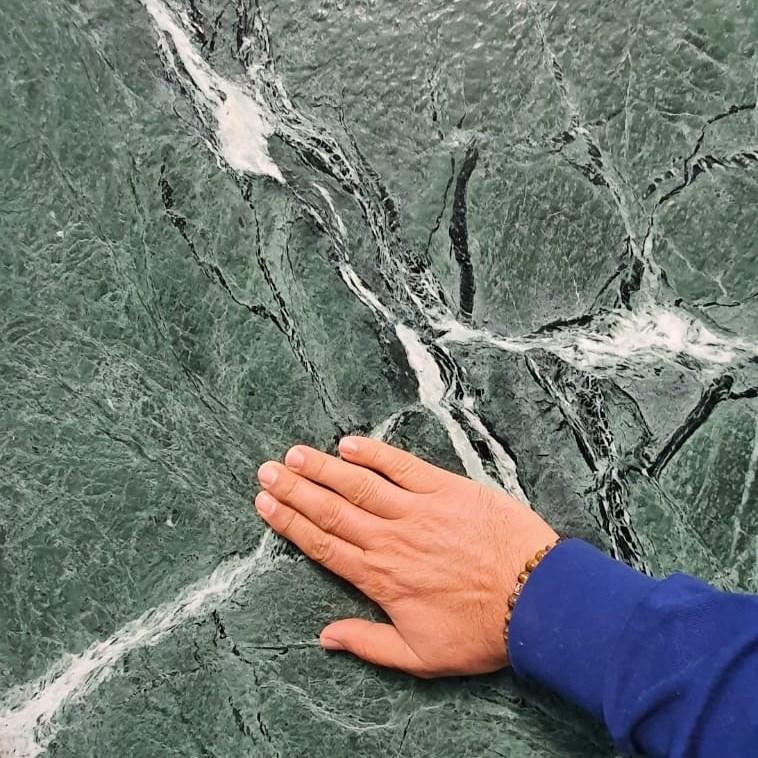 Marble Slab | Amazon Green Leather Finish - 0